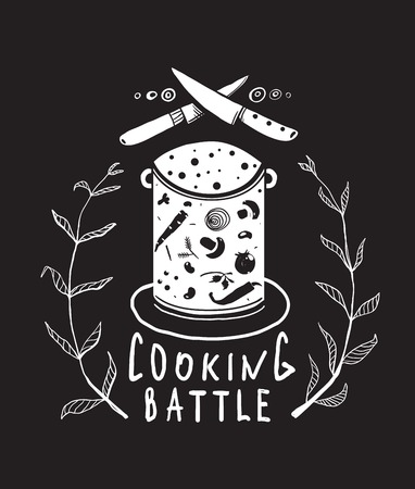 soup pot: Cooking Battle Sign and  Label Monochrome Design on Black  One color print illustration for kitchen event. Vector EPS10.