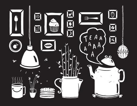 lamp vector: Teapot Lamp Vase Kitchen Still Life Art Frames on Black  Tea-drinking black and white rustic design elements. Vector EPS10.