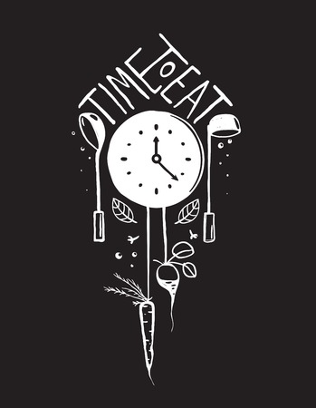 Time To Eat Sign And Label Monochrome Design On Black One Color Print Illustration For Kitchen