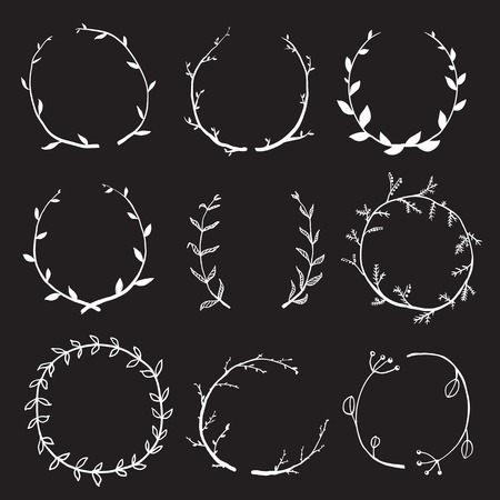 wreath collection: Rustic Laurel and Wreath Collection for Design on Black Hand drawn sketchy style wreath clip art set. Vector EPS10.