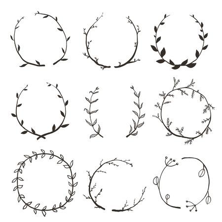 Rústico y Laurel Wreath Colección de Diseño. Dibujado a mano estilo incompleto prediseñada guirnalda establecido. Vector EPS10. Ilustración de vector