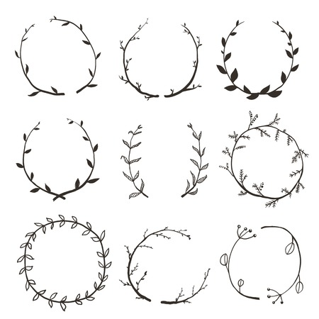 Rustic Laurel and Wreath Collection for Design. Hand drawn sketchy style wreath clip art set. Vector EPS10. Çizim