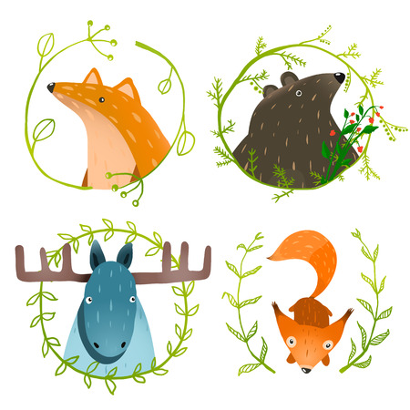 illustration zoo: Wild Forest Animals Set. Forest animals portraits set with laurels on white background. Vector EPS10.