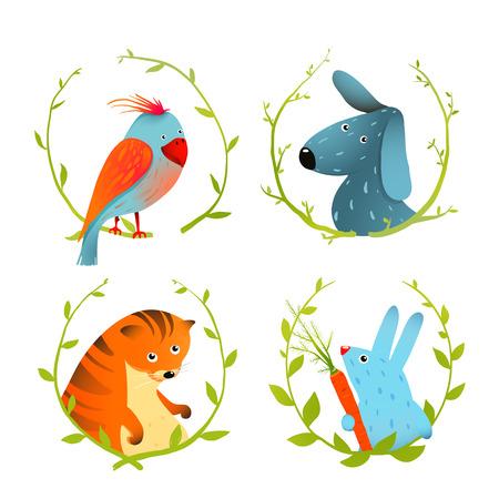 pajaro caricatura: Conjunto de dibujos animados Animales domésticos Retratos. Conjunto de animales domésticos de dibujos animados sobre un fondo blanco con laureles.