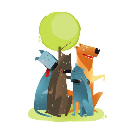 perro caricatura: Grupo de perros de dibujos animados sentado bajo un �rbol Sonriendo. Grupo de perros de la historieta bajo el �rbol verde sobre fondo blanco. Vectores
