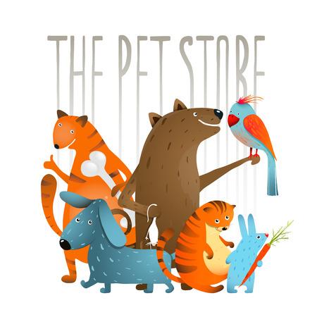 Company of Cartoon Domestic Animals. Set of colorful cartoon domestic animals on a white background. Ilustração