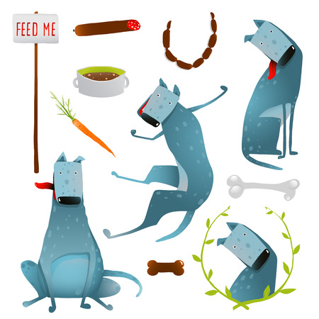 looking after: Feeding Happy Hungry Dogs Healthy Diet Clip Art Collection. Looking after a dog and taking care of it. Colorful cartoon illustration. Vector  Illustration