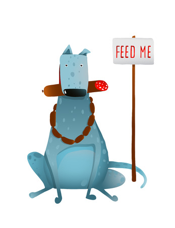 fat dog: Hungry Blue Fat Dog Improper Feeding with Sausages. Sitting and eating dog with a sign feed me. Colorful cartoon illustration. Vector EPS10. Illustration