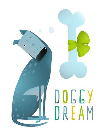 dreamy: Dog Sitting Dreaming of Bone with Green Ribbon. Dreamy dog sitting with a bone and hand drawn lettering.