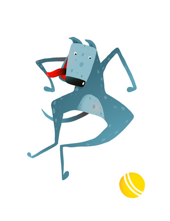 sprightly: Funny Dog Jumping Playing with Ball. Dog playing with a ball colorful cartoon illustration. Vector EPS10.