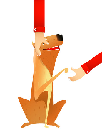 collie: Smiling Red Dog Putting out the Paw to Man. Dog and stroking hand colorful cartoon illustration. Vector EPS10.