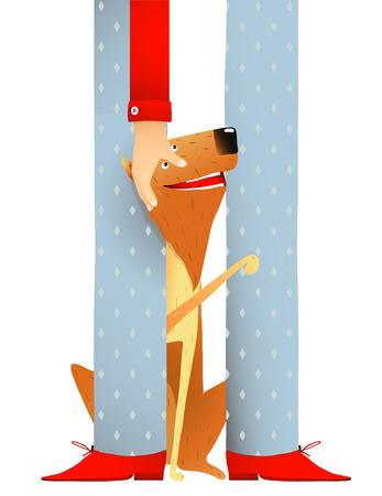 なでる: 赤犬に座って近く足の男犬を笑顔とカラフルな手をなでる漫画イラスト。ベクトル EPS10。