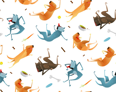 doggy: Happy Dogs and Doggy Food Seamless Pattern Background. Flying amusing funny colorful dogs and food illustration. Vector EPS10.