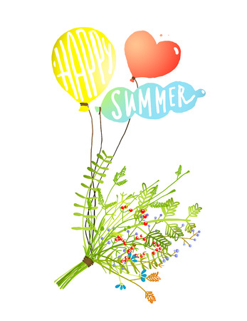 happy summer: Colored Balloons and Bouquet Happy Summer Sign. Bunch of summer flowers and berries with balloons illustration, text on balls happy summer. Vector EPS10. Illustration