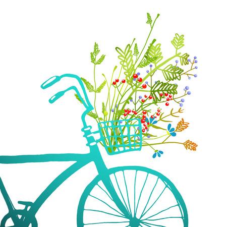 꽃 카드의 무리와 함께 레트로 여름 자전거. 식물 그림의 전체 바구니와 여름 푸른 자전거 조각 광장. 벡터 eps10.