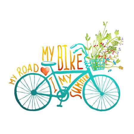 canastas con frutas: Bike verano vendimia con el manojo de flores tarjeta. Verano azul bicicleta con una cesta llena de plantas y letras sobre fondo blanco Vectores