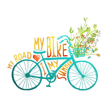 cartoon summer: Vintage Summer Bike with Bunch of Flowers Card. Summer blue bicycle with a basket full of plants and lettering on white background