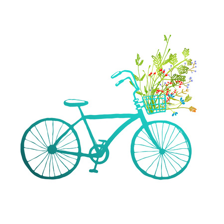 Vintage Summer Bike with Bunch of Flowers Card . Summer blue bicycle with a basket full of plants illustration. Vector EPS10. Illustration