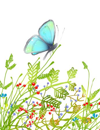 butterfly hand: Hand Drawn Delicate Blue Butterfly Sitting on Grass. Aquamarine butterfly sitting in field on flowers illustration. Vector EPS10.