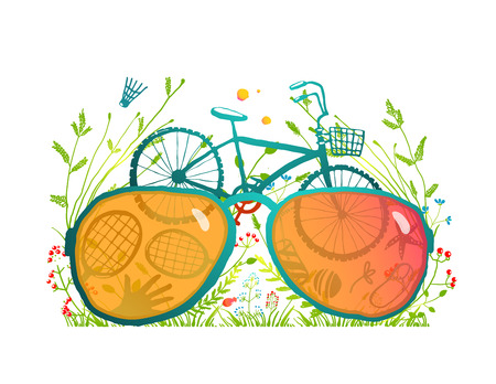 sunglasses recreation: Summer Bicycle Sunglasses Recreation in Nature. Summer sport outdoors collage with sunglasses and a bike. Vector illustration EPS10.