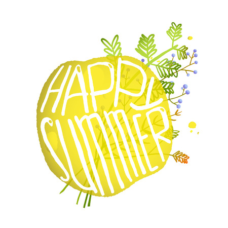 happy summer: Bright Yellow Circle Bubble  with Sign Happy Summer. Abstract composition isolated on white with field grass and flowers. Vector EPS10. Illustration
