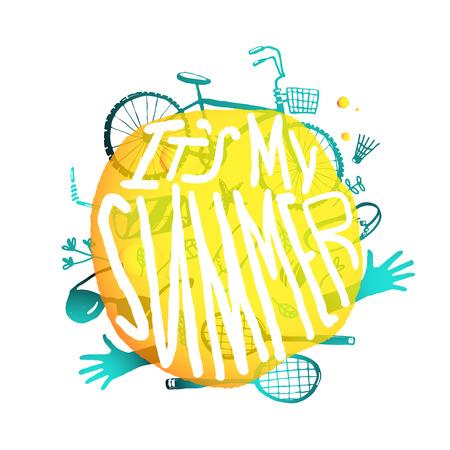 활성 여름 기호와 밝은 노란색 거품 디자인. 추상 조성 활동 및 레저 스포츠 항목과 화이트에 격리입니다. 벡터 EPS10.