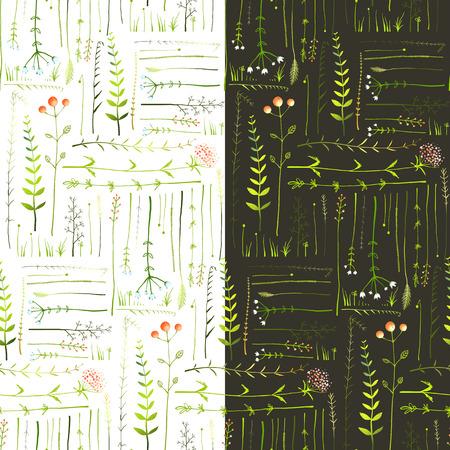 牧草地の草と花のシームレスな背景を持つ。緑の牧草地の草黒と白の背景イラストをシームレスなパターン。ベクトル