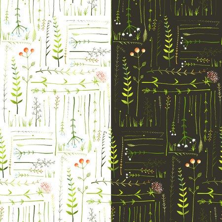Meadow with Grass and Flowers Seamless Background. Green meadow grass seamless patterns on black and white background illustration. Vector