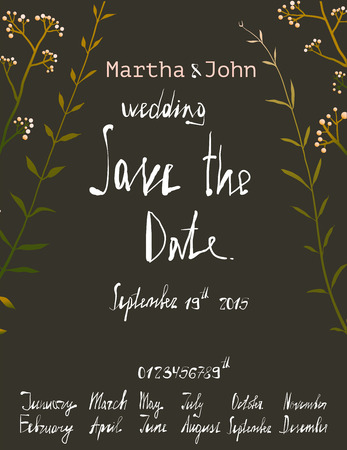 written date: Rustic Save the Date Invitation Card Template with Inky Calligraphy on Black. Country floral wedding card with written text illustration. Vector