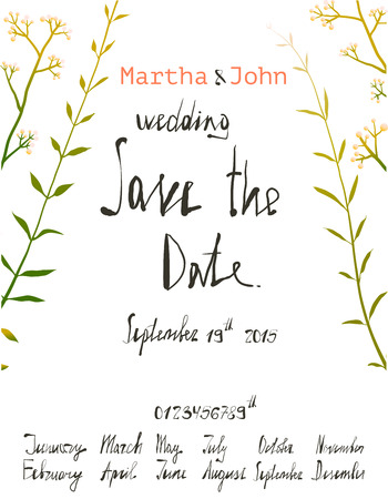 written text: Rustic Save the Date Invitation Card Template with Inky Calligraphy. Country floral wedding card with written text illustration. Vector