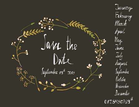 written date: Rustic Wreath Save the Date Invitation Card with Inky Calligraphy on Black. Country floral wedding card with written text illustration. Vector