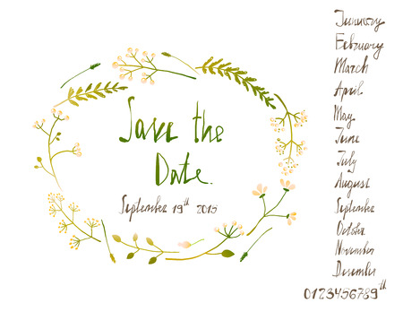 written date: Rustic Wreath Save the Date Invitation Card with Inky Calligraphy on White. Country floral wedding card with written text illustration. Vector Illustration