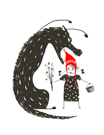 Little Red Riding Hood and Black Scary Wolf. Illustration for the fairy tale, scary wolf and a child. Sketchy artistic drawing. Vector illustration. Иллюстрация