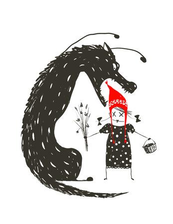 Little Red Riding Hood en Zwarte Enge Wolf. Illustratie voor het sprookje, enge wolf en een kind. Schetsmatig artistieke tekening. Vector illustratie.