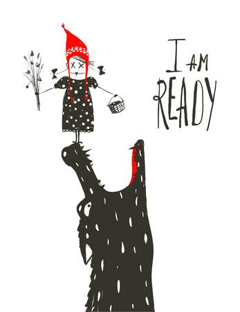 caperucita roja: Caperucita Roja listo para ser comido por Wolf. Ilustración para el cuento de hadas, lobo aterrador y un niño. Dibujo artístico incompleto. Ilustración del vector.