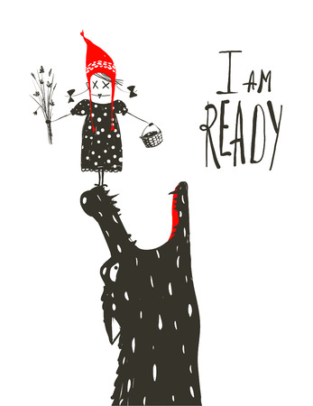Little Red Riding Hood prêt à être mangé par Wolf. Illustration pour le conte de fées, le loup effrayant et un enfant. Dessin artistique Sketchy. Vector illustration. Banque d'images - 39122634