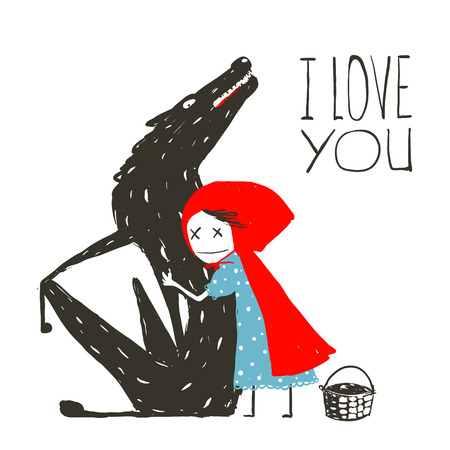 Little Red Riding Hood Loves Black Wolf. Little Red Riding Hood hugs wolf, illustration for the fairy tale. Vector illustration.  イラスト・ベクター素材