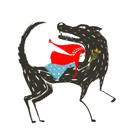Little Red Riding Hood Fairy tale  Illustration. Red Riding Hood in blue dress on the back of a terrible wolf. Vector illustration.