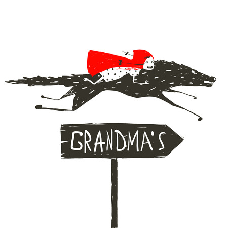 caperucita roja: Red Riding Hood en Negro Lobo que corre a su abuela. Caperucita Roja en la parte posterior de un lobo para montar a su abuela. Ilustración del vector. Vectores