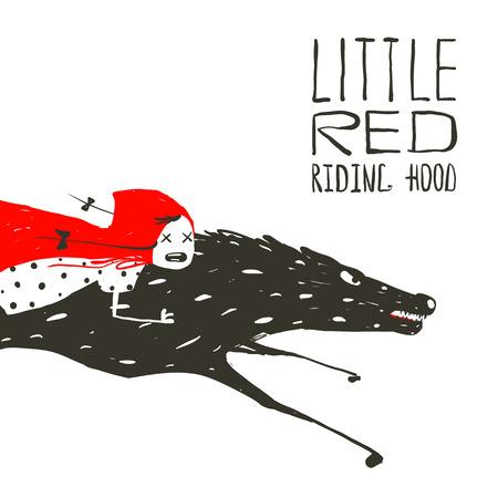 Caperucita Roja en el Lobo Negro Running. Caperucita Roja en la parte posterior de un lobo que monta rápidamente. Ilustración del vector. Foto de archivo - 39122654