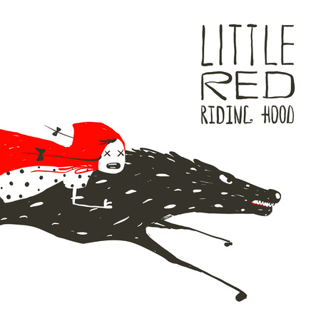 Little Red Riding Hood on Black Wolf Running. Red Riding Hood on the back of a wolf riding fast. Vector illustration.