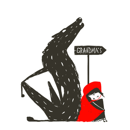 little red riding hood: Cappuccetto Rosso e spaventoso Lupo. Cappuccetto Rosso e il lupo seduta back to back in prossimit� di un segno con il segno nonna. Sketchy disegno artistico. Illustrazione vettoriale.