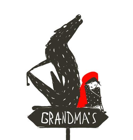 caperucita roja: Caperucita Roja y el lobo asustadizo. Caperucita Roja y el lobo sentados espalda con espalda de un cartel con el signo de la abuela. Dibujo artístico incompleto. Ilustración del vector.