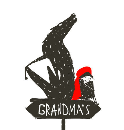 Little Red Riding Hood en Scary Wolf. Roodkapje en de wolf zitten rug aan rug op een bord met het teken van de oma. Schetsmatig artistieke tekening. Vector illustratie.