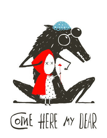 Wolf Gekleed als een grootmoeder en Roodkapje. Enge wolf vermomd als een oma, Illustratie voor het sprookje Roodkapje. Schetsmatig artistieke tekening. Vector illustratie.