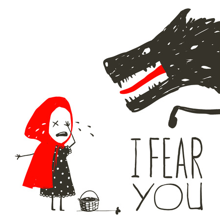 Little Red Riding Hood Crying and Black Scary Wolf. Illustration for the fairy tale, scary wolf and a child. Sketchy artistic drawing. Vector illustration.