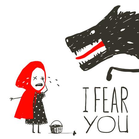 Little Red Riding Hood Huilen en Zwarte Enge Wolf. Illustratie voor het sprookje, enge wolf en een kind. Schetsmatig artistieke tekening. Vector illustratie.