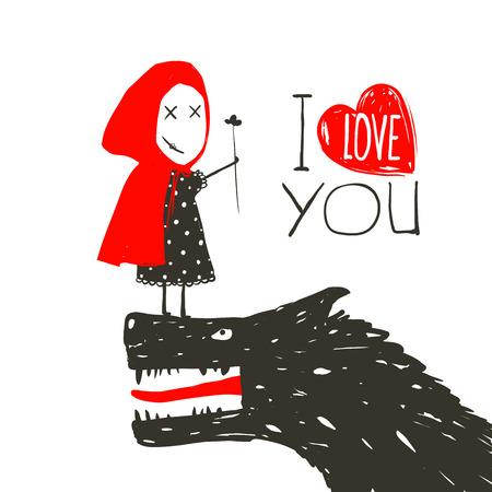 little red riding hood: Little Red Riding Presentando fiori in Black Wolf. Cappuccetto Rosso ama lupo cattivo orribile. Ti amo lettering design. Illustrazione vettoriale. Vettoriali