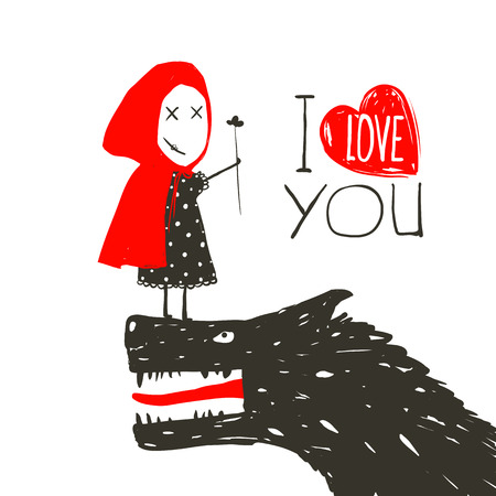 Little Red Riding Presenting Flower to Black Wolf. Little Red Riding Hood loves bad horrible wolf. I love you lettering design. Vector illustration.