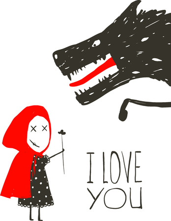 Little Red Riding Presenting Flower to Black Wolf. Little Red Riding Hood loves bad horrible wolf design. I love you lettering. Vector illustration. Ilustracja